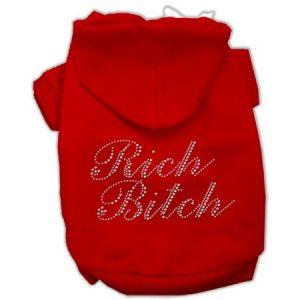 Dog Supplies Rich Bitch Rhinestone Hoodies Red Xl (16)