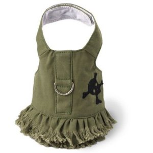 Doggles HADJTC07 Teacup Harness Dress Fringe with Skull - Green