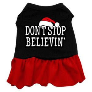 Don't Stop Believin' Screen Print Dress Black with Red Sm (10)