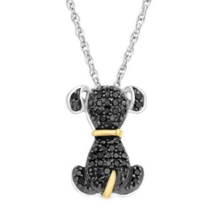 Duet 1/5 ct Black Diamond Dog Pendant Necklace in Sterling Silver & 14kt Gold