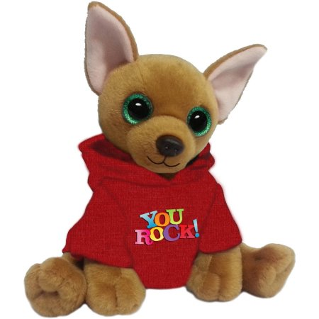 "First and Main 7"" Jaq Plush Dog with Red Hoodie"