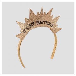 Girls' Happy Birthday Crown Headband - Cat & Jack Gold One Size
