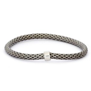 Giuliano Mameli Sterling Silver Ruthenium-Plated Popcorn Chain Bangle with Rhodium-Plated Rondell
