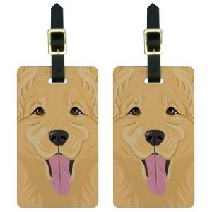 Golden Retriever Dog Pet Luggage Tags Suitcase Carry-On ID, Set of 2