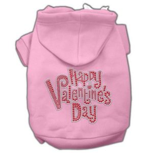 Happy Valentines Day Rhinestone Hoodies Pink XS (8)