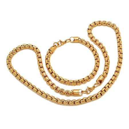 Hmy Jewerly 18k Gold Pl Ro Box Chain Brac And Neck S