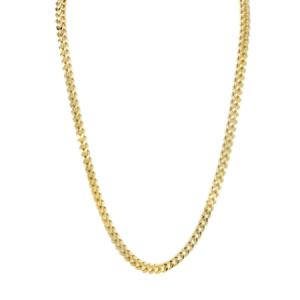 "Hollow Mens Franco Chain 10K Yellow Gold 3.1MM-22"" Inches"