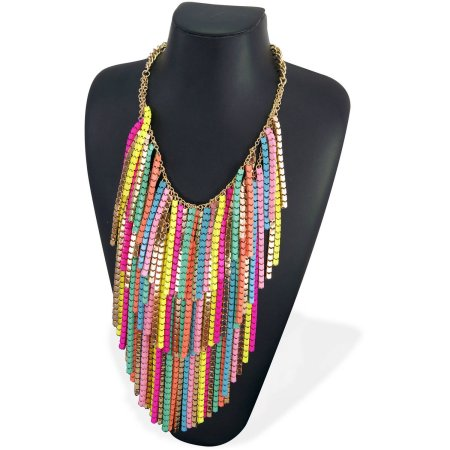 """Imitation Gold Close-Fitting Collar Necklace with Neon and Pastel Sprayed Double-Row Box Chain Drops, 17.5"""" with 3"""" Extender"""