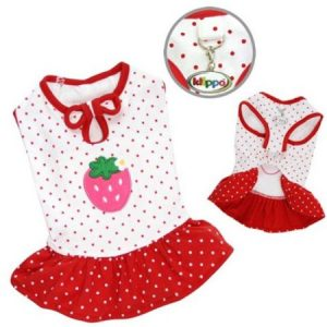 Klippo Pet Adorable and Lightweight Dog Dress with Polka Dots and a Strawberry Patch