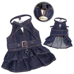 Klippo Pet KDR052XL Stylish V-Neck Denim Dog Dress With Adjustable Neck Strap - Extra Large