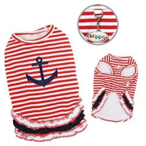 Klippo Pet KTP038LZ Cute and Stripy Dog Sailor Shirt With Ruffles - Large