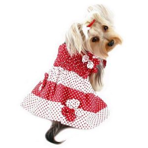 KlippoPet KDR057LZ Polka Dots Sun Dress With Contrasting Flowers - Red & White, Large