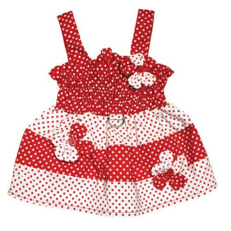 KlippoPet KDR057SZ Polka Dots Sun Dress With Contrasting Flowers - Red & White, Small