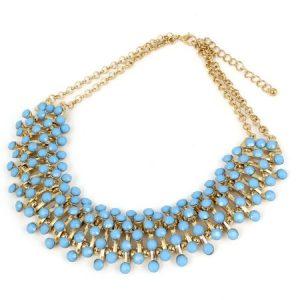 Lady Acrylic Beads Decor Statement Chunky Collar Chain Bib Necklace Blue