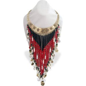 """Light Gold OX-Plated Hard Collar Necklace with Gypsy Vibe, 13.5"""" with 5"""" Extender"""