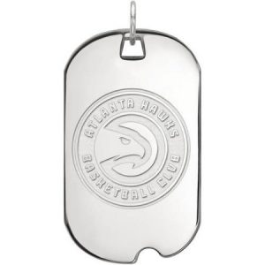 LogoArt NBA Atlanta Hawks 10kt White Gold Large Dog Tag