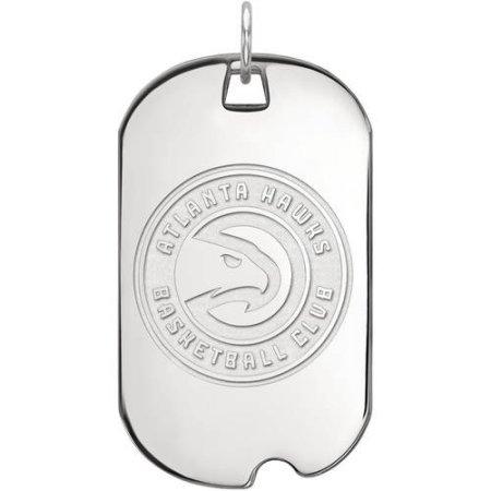 LogoArt NBA Atlanta Hawks 10kt White Gold Large Dog Tag