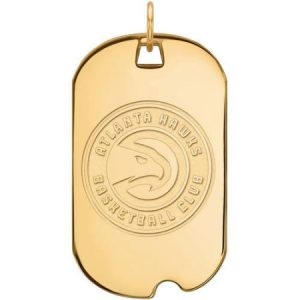 LogoArt NBA Atlanta Hawks 14kt Gold-Plated Sterling Silver Large Dog Tag