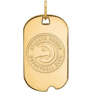 LogoArt NBA Atlanta Hawks 14kt Gold-Plated Sterling Silver Small Dog Tag