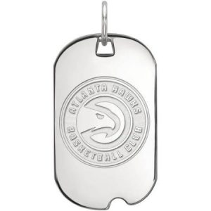 LogoArt NBA Atlanta Hawks 14kt White Gold Small Dog Tag