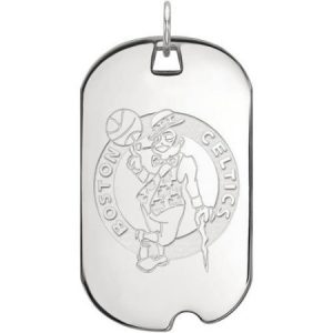 LogoArt NBA Boston Celtics 10kt White Gold Large Dog Tag