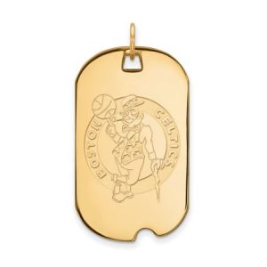 LogoArt NBA Boston Celtics 14kt Gold-Plated Sterling Silver Large Dog Tag