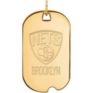 LogoArt NBA Brooklyn Nets 14kt Gold-Plated Sterling Silver Large Dog Tag