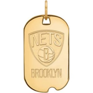 LogoArt NBA Brooklyn Nets 14kt Gold-Plated Sterling Silver Small Dog Tag