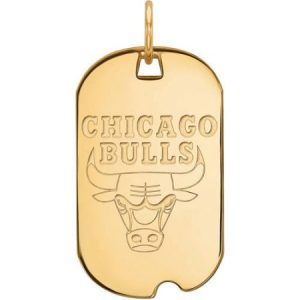 LogoArt NBA Chicago Bulls 10kt Yellow Gold Small Dog Tag