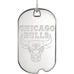 LogoArt NBA Chicago Bulls 14kt White Gold Large Dog Tag