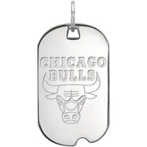 LogoArt NBA Chicago Bulls 14kt White Gold Small Dog Tag