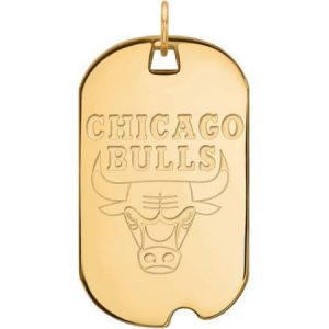 LogoArt NBA Chicago Bulls 14kt Yellow Gold Large Dog Tag