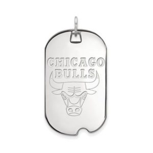 LogoArt NBA Chicago Bulls Sterling Silver Large Dog Tag