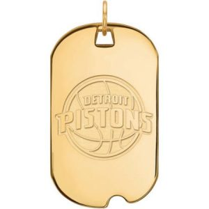 LogoArt NBA Detroit Pistons 14kt Gold-Plated Sterling Silver Large Dog Tag