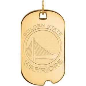 LogoArt NBA Golden State Warriors 10kt Yellow Gold Large Dog Tag
