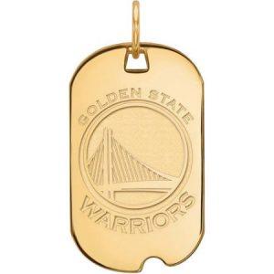 LogoArt NBA Golden State Warriors 10kt Yellow Gold Small Dog Tag