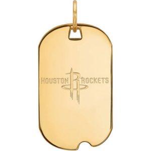 LogoArt NBA Houston Rockets 14kt Yellow Gold Small Dog Tag