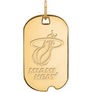 LogoArt NBA Miami Heat 10kt Yellow Gold Small Dog Tag