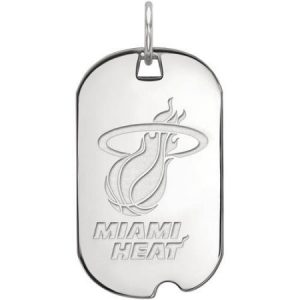 LogoArt NBA Miami Heat 14kt White Gold Small Dog Tag