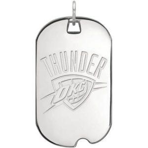 LogoArt NBA Oklahoma City Thunder 14kt White Gold Large Dog Tag