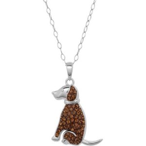 "Luminesse Swarovski Element Sterling Silver ""Loyal"" Engraved Slogan Dog Pendant, 18"""