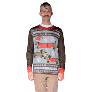 Men's Ugly Christmas Costume Sweater Wiener Dog Wonderland, Long Sleeve T-Shirt - Small, Multicolored