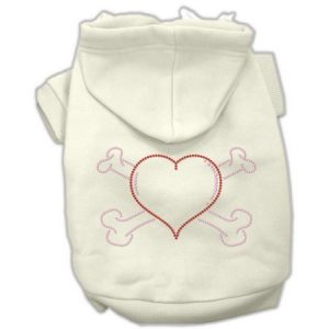 Mirage 54-37 MDCR Heart and Crossbones Dog Hoodie Cream M