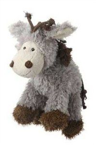 Multipet's Mane Event 11-Inch Donkey Plush Dog Toy Multi-Colored
