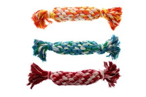 Multipet's Nuts for Knots Rope Bone Dog Toy with Squeaker, 16-Inch Multi-Colored