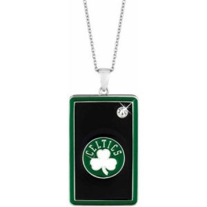 NBA Men's Swarovski Crystal Fine Silver-Tone Boston Celtics Dog Tag Pendant, 20""