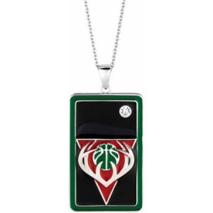 NBA Men's Swarovski Crystal Fine Silver-Tone Milwaukee Bucks Dog Tag Pendant, 20""