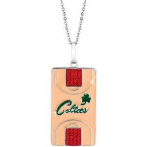 NBA Men's Swarovski Crystal Stainless Steel Boston Celtics Dog Tag Pendant, 20""