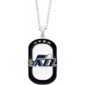 NBA Men's Swarovski Crystal Stainless Steel Utah Jazz Dog Tag Pendant, 20""