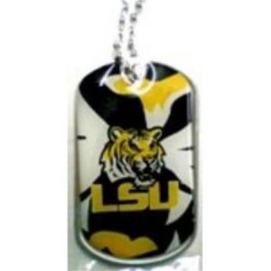 NCAA Football Dynamic Dog Tag (Necktag) Necklace LSU Tigers